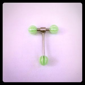 Double Barbell Spinner Tongue Ring-Green